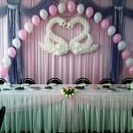 оформление свадебного зала шарами и тканями
