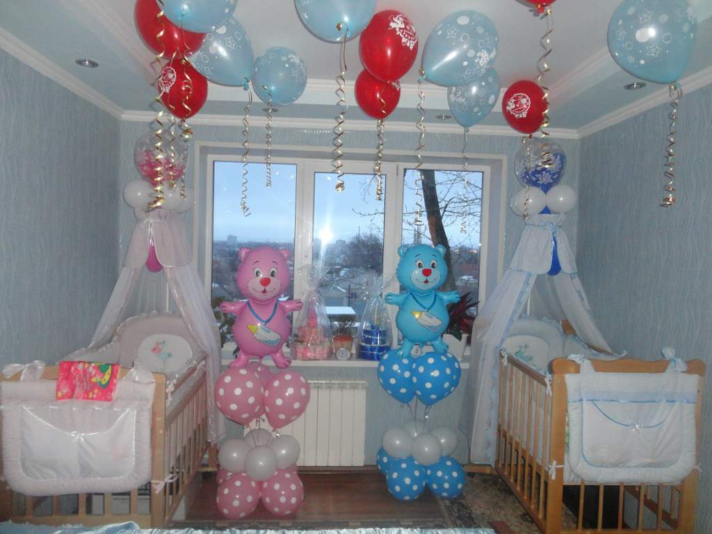 114 Оформление шарами своими руками на рождение ребенка
